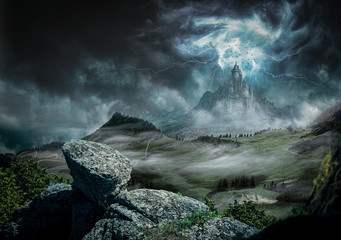 Great castle dark with strong rays and lightning