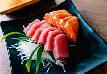 Japanese style seafood with combo set salmon and tuna sashimi