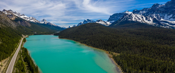 Aerial panoramic view of the scenic Waterfowl Lakes on the Icefields Parkway in Banff National Park