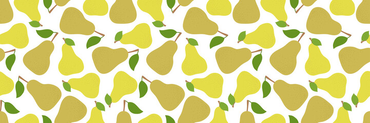 Pear seamless pattern. Long banner. Hand drawn fresh yellow fruit. Fashion design. Vector sketch background. Food print for kitchen tablecloth, curtain or dishcloth