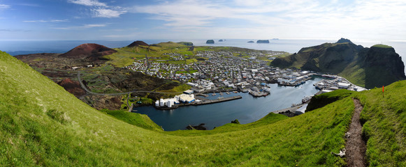 Panoramic view over Vestmann Islands (south of Iceland) from Heimaey main island viewpoint.