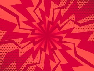 Retro komiks promienie czerwone tło. Ilustracja wektorowa w stylu retro pop-artu