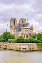 Reconstruction of Notre Dam after the devastating fire