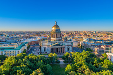 Saint-Petersburg. Russia. City panorama of St. Petersburg. Isaakievsky cathedral. High-rise city panorama with St. Isaac's Cathedral. City landscape. Architecture of St. Petersburg. Russian landmarks.