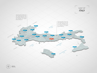 Isometric  3D Italy map. Stylized vector map illustration with cities, borders, capital, administrative divisions and pointer marks; gradient background with grid.