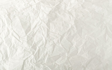 Sheet of White Thin Crumpled Craft Paper Background