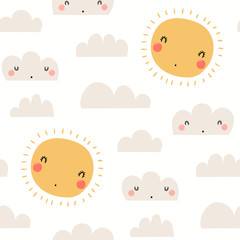 Hand drawn seamless vector pattern with cute sun, clouds, on a white background. Scandinavian style flat design. Concept for children summer textile print, wallpaper, wrapping paper.