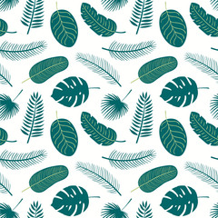 Hand drawn seamless tropical vector pattern with palm tree leaves, on a white background. Scandinavian style flat design. Concept for summer textile print, wallpaper, wrapping paper.