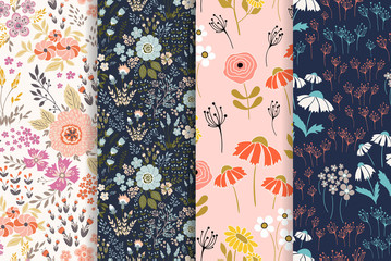 Surface seamless patterns design vector backgrounds collection