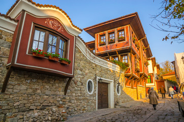 Beautiful street in medieval part of the city Plovdiv, Bulgaria
