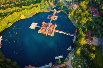 Aerial view of the famous Lake Heviz in Hungary, and the largest thermal lake in the world available to bath. Outdoor travel background