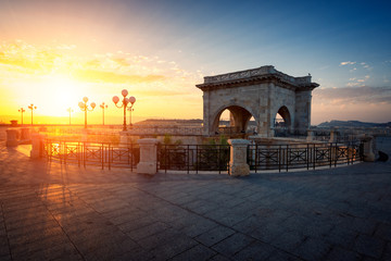 View at sunrise of the highest terrace of  Bastione Saint Remy fortification in Cagliari - Castello district.