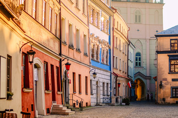 Slanted colorful houses in the old town in Lublin, Poland