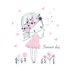 Cute little cartoon girl white flowers. Childish vector isolated illustration