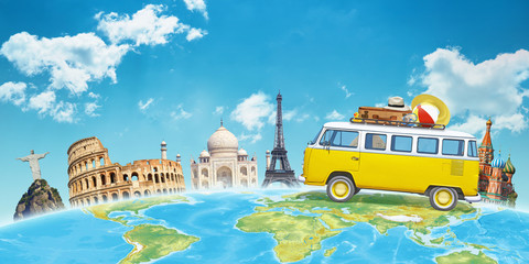 Travel by van to world famous destinations concept. Free space above for text.