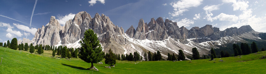Landscape with mountains. Panoramaview of Sass Rigais and Furchetta from the Val di Funes (Villnösstal).