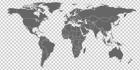 World Map vector. Gray similar world map blank vector on transparent background.  Gray similar world map with borders of all countries.  High quality world  map.  Stock vector. Vector illustration EPS