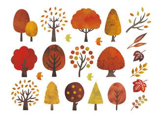 水彩の秋の木セット