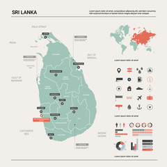 Vector map of Sri Lanka. Country map with division, cities and capital Sri Jayawardenepura Kotte. Political map,  world map, infographic elements.