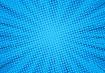 Comic pop art background lightning blast halftone dots.