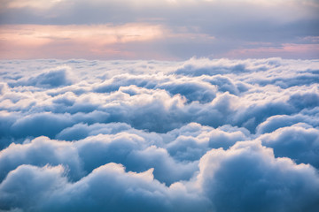 View of the clouds from above at dawn