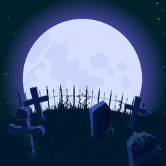 Background with the big moon and cemetery, vector. Background for Halloween.