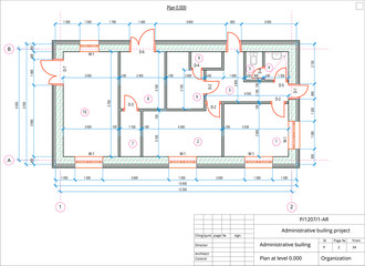 Architectural plan of the administrative building. Color version with place for text and copy space.