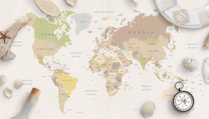Sea, travel things on world map conposition. Copy space in the middle. Top view, flat lay.