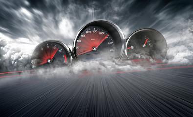 Speedometer scoring high speed in a fast motion blur racetrack background. Speeding Car Background Photo Concept.