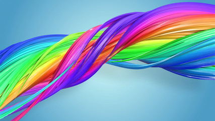 3d rendering of abstract rainbow color ribbon twisted into a circular structure on a blue background. Beautiful multicolored ribbon glitters brightly. 20