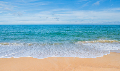 Summer concept background : Software On the beach with blue sky and clouds in Thailand for background