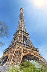 eiffel tower in Paris under sunny blue sky