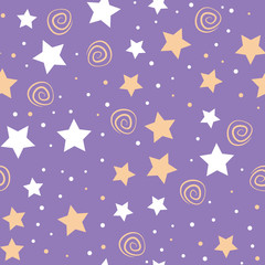 Sky full of stars kids seamless pattern design