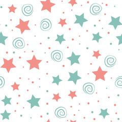 Sky full of stars kids seamless pattern design