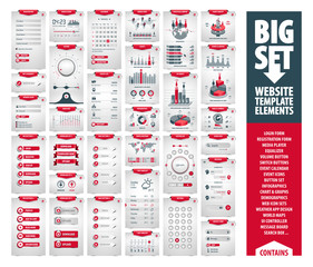 big vector set of website template and mobile app elements, huge pack of icons, buttons, infographics, and a large user interface kit containing hundreds of web components isolated on white background