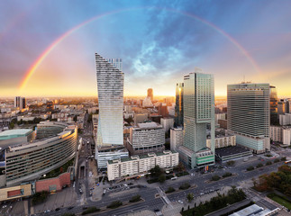 Rainbow over panorama of Warsaw, Poland, Europe