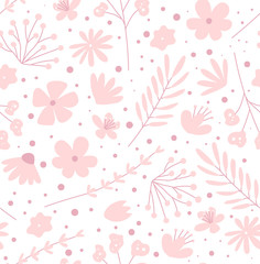 Doodle flowers seamless pattern for fabric. Girlish pink background