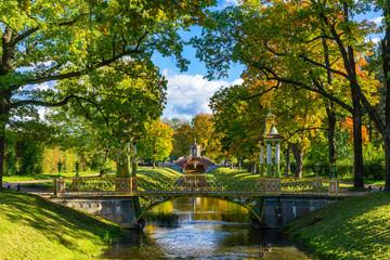 Saint Petersburg. Russia. Bridges in the summer park. Multicolored patterned bridges. Petersburg park architecture. Leningrad region. Pushkin. Surroundings of St. Petersburg. Travel to Russia.