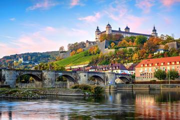 Wurzburg, Germany, Marienberg Fortress and the Old Main Bridge