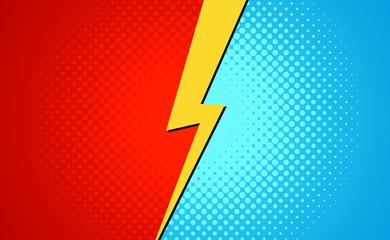 Versus superhero fight comic pop art retro battle design background. Cartoon versus halftone banner