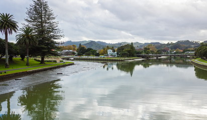 The Turanganui River is a river in the city of Gisborne, New Zealand. Formed by the confluence of the Taruheru River and the Waimata River