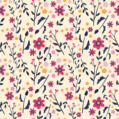 Traditional seamless pattern with flowers and leaves in pink, violet and yellow, elegant floral background, great for fashion print, summer textile, banners, wallpapers, vector design