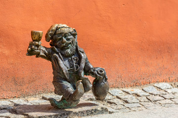 Franek dwarf gnome sculpture, symbol of Wroclaw, Poland