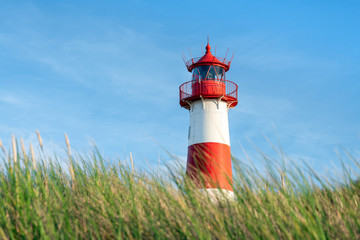 Red lighthouse List Ost on the island of Sylt, North Frisian islands, Germany