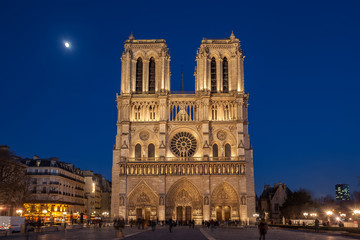 Notre Dame Cathedral in Paris at night, France