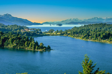 scenic lake district in Patagonia, spectacular  landscape with Andes view