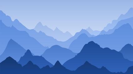 Blue mountain landscape. Mountains misty silhouettes, panoramic hills. Majestic peak ranges horizon, hiking vector background
