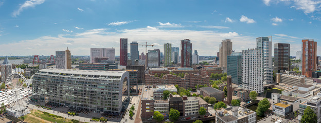 Panoramic cityscape of the city of Rotterdam on a sunny day