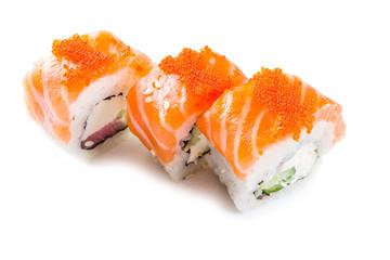 Wzór z sushi. Jedzenie streszczenie tło. Latający suszi, sashimi i rolki odizolowywający na białym tle.