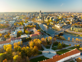 Beautiful autumn panorama of Vilnius old town taken from the Gediminas hill. Nice sunny October day in Lithuania.